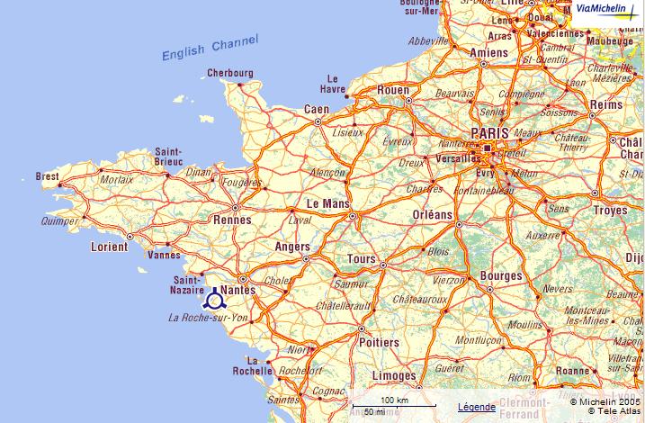 via michelin carte de france En France allez vers les Pays de Loire